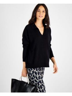 Charter Club Cashmere Johnny-Collar Sweater, Created for Macy's