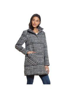 Women's Weathercast Plaid Wool-Blend Topper Coat