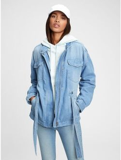 Belted Denim Jacket With Washwell™