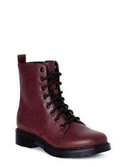 Women Vegan Leather Lace Up Lug Combat Dual Closure Boot