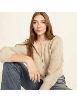 Puff-sleeve lightweight alpaca blend cardigan sweater