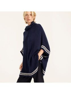 Relaxed turtleneck poncho with striped border