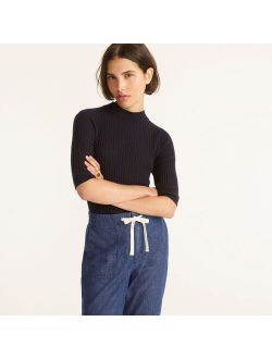 Featherweight cashmere ribbed mockneck sweater