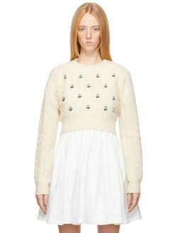 Sandy Liang Off-White Half Sweater