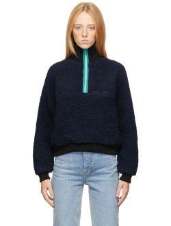 Sandy Liang Navy Neck Fleece Jacket