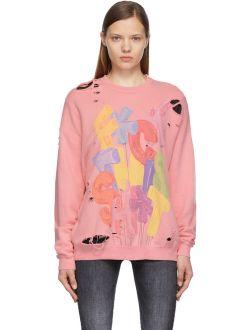 R13 Pink FTS Distressed Oversized Sweatshirt