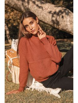 Get With It Rust Red Mock Neck Knit Sweater