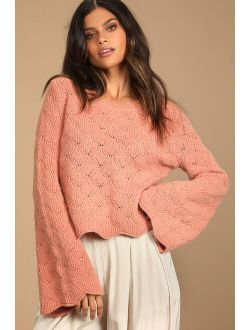 Fantastic Feels Rose Pink Pierced Cable Knit Pullover Sweater