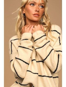 LUSH One Good Reason Cream and Black Striped Oversized Sweater