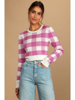 Check This Out Magenta Gingham Cropped Pullover Sweater