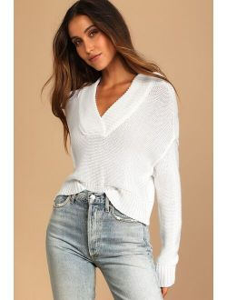 Cozy to Me White Knit Hooded Pullover Sweater