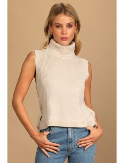 Chic Expectations Cream Ribbed Turtleneck Side-Tie Sweater Top