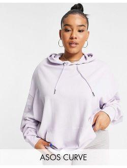 Curve organic cotton super oversized boyfriend hoodie in lilac
