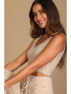 Road to Cozy Taupe Fuzzy Cropped Tank Top