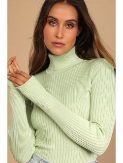 Chic Observations Light Green Ribbed Turtleneck Sweater Top