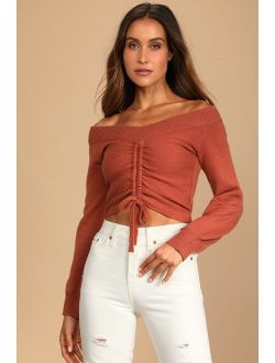 Snuggling Season Rust Brown Ruched Off-the-Shoulder Sweater