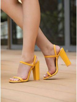 Minimalist Chunky Heeled Slide Sandals