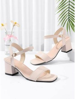 Minimalist Chunky Ankle Strap Sandals