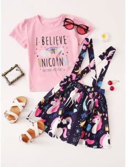 Toddler Girls Slogan Graphic Tee With Cartoon Unicorn Skirt