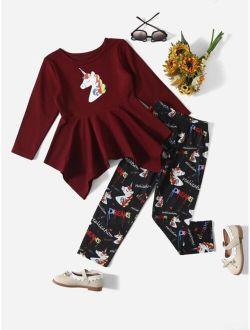 Toddler Girls Letter And Unicorn Print Hanky Hem Top & Pants
