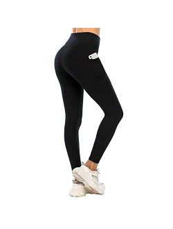 Lianshp Womens Fleece Lined Leggings Thermal High Waisted Winter Warm Pants with Pockets