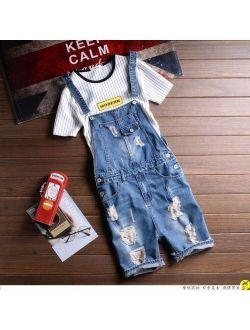Summer Shorts Bib Jeans For Men Vintage Slim Rip Denim Overalls Jeans Shorts Man Casual Jumpsuits Jeans Male Suspenders 031501