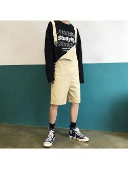 Summer Korean Fashion Short Bib Pants Trend Wild Mens Loose Jumpsuits Youthful Street Style Overalls