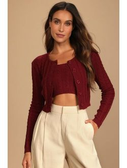 Warm Affections Burgundy Cable Knit Tube Top and Cardigan Set