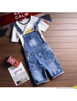 summer denim overalls Male Suspenders Jeans Shorts knee length hole ripped jeans Front Pockets jumpsuits Male Bibs shorts 031501