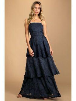 Loving Celebration Navy Blue Lace-Up Tiered Maxi Dress