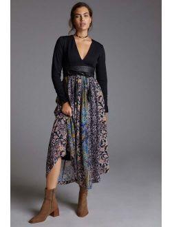 Abstract V-Neck Maxi Dress