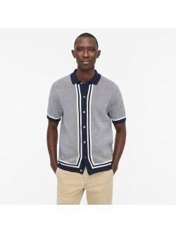 Cotton bird's-eye short-sleeve polo sweater