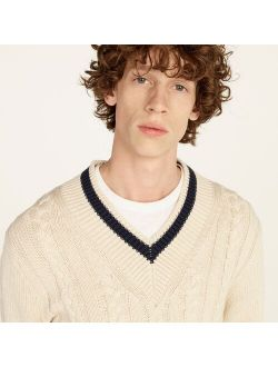 Cotton cable-knit V-neck sweater