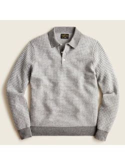 Cashmere collared sweater in houndstooth jacquard