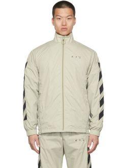 Off-White Beige Nylon Diag Tracktop Jacket