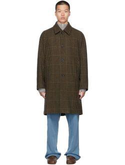 Dries Van Noten Khaki Wool Check Coat