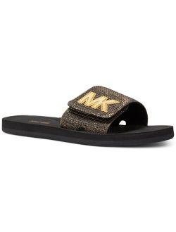 Women's MK Signature Logo Pool Slide Sandals