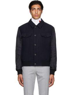 Hugo Navy Wool Twill Bomber Jacket