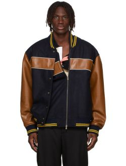 Y/Project Black & Brown Double Stripe Bomber Jacket