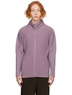 Homme Plissé Issey Miyake Purple Color Pleats Zip-Up Jacket