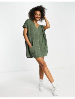 button through mini smock dress with pockets in khaki