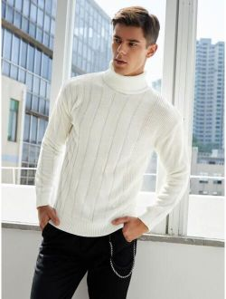 Men Turtle Neck Ribbed Knit Sweater