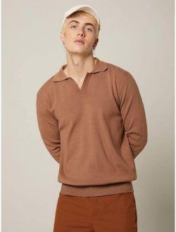 Basics Men Solid Notch Neck Sweater