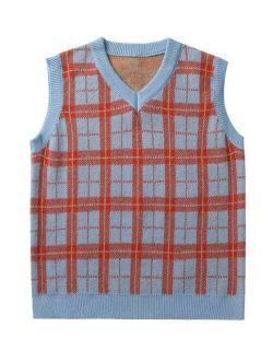 Men Plaid Pattern Sweater Vest