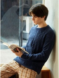 Men Solid Drop Shoulder Cable Knit Sweater