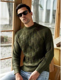 Men Mock Neck Cable Knit Raglan Sleeve Sweater