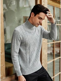 Men High Neck Buttoned Cable Knit Sweater