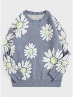 Men Floral Pattern Drop Shoulder Sweater