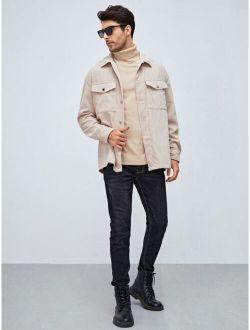 Men Flap Pocket Drop Shoulder Corduroy Coat