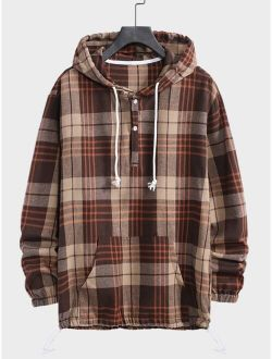 Men Plaid Half Button Drawstring Hooded Sweatshirt